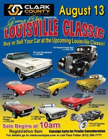 Louisville Classic Car Auction Sat. 8/13/16 10:00 A.M- Lowest Fees!