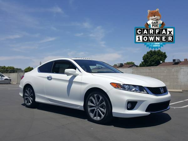 2014 HONDA ACCORD EX-L V6 SPORT COUPE LEATHER WHITE MOONROOF CLEAN!