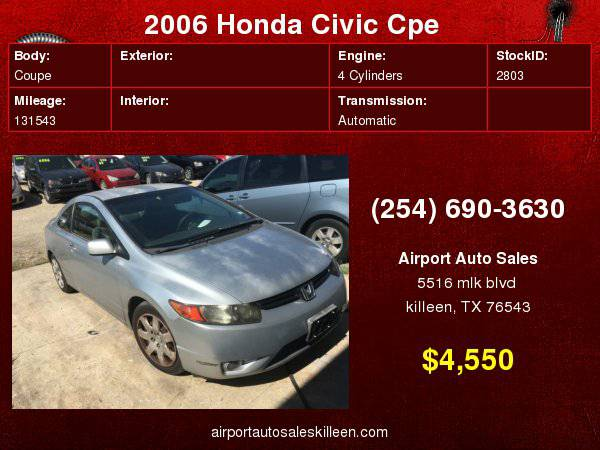 2006 Honda Civic Cpe LX AT with 12V auxiliary pwr outlet