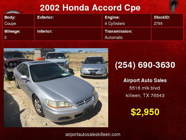 2002 Honda Accord Cpe EX Auto with Electronic ignition w/immobilizer...