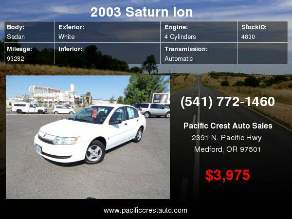 2003 Saturn Ion ION 30+ MPG. *LOW MILES*