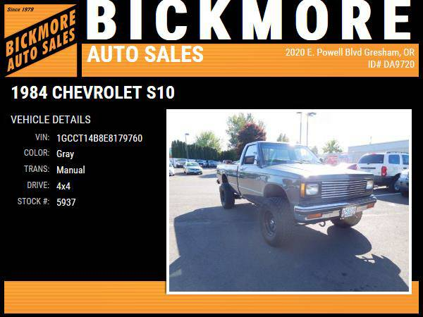 1984 *Chevrolet* *S10* *Regular cab 4x4 long bed*