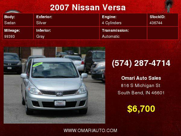 2007 Nissan Versa. ONE OWNER!! . Repo? Bad Credit? NO PROBLEM