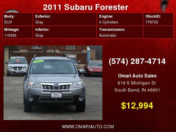 2011 Subaru Forester 1 OWNER! AWD! . EZ Fincaning. As low as $600...