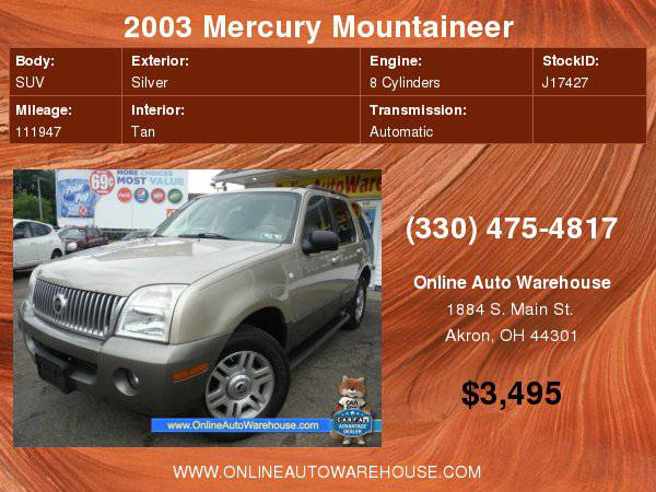 2003 Mercury Mountaineer AWD PREMIER 4.6 V8 FULLY LOADED FREE...