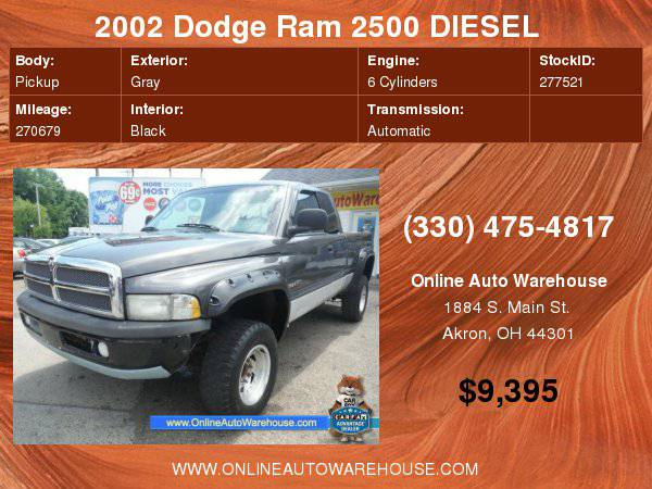 2002 Dodge Ram 2500 DIESEL 5.9 CUMMINS 24 VALVE 4X4 SLT SHORT BED NO...