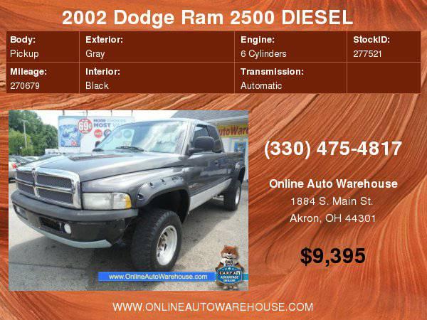 2002 Dodge Ram 2500 DIESEL 5.9 CUMMINS 24 VALVE 4X4 SLT SHORT BED NO...
