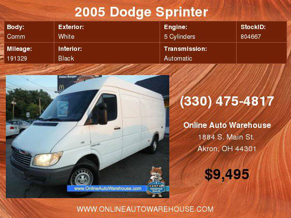 2005 DODGE SPRINTER 2500 DIESEL SUPER HIGH CEILING 158 LONG ONE OWNER