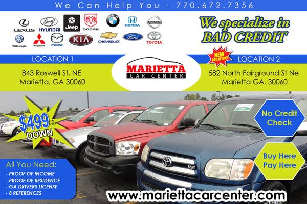 $#$ WE HAVE 2 LOCATIONS!! WE NEVER CHECK CREDIT 200 CARS #@#@#@