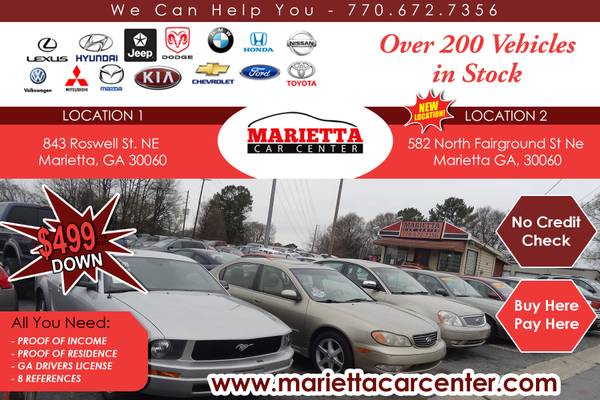 ## WHEN OTHER DOORS CLOSE-OURS IS ALWAYS OPEN 2 LOCATIONS 200 CARS !!!