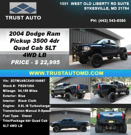 ►►► 2004 DODGE RAM PICKUP 3500 4DR QUAD CAB SLT 4WD