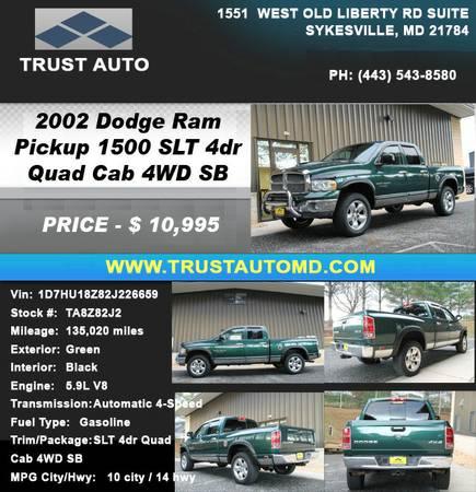 ►►► 2002 DODGE RAM PICKUP 1500 SLT 4DR QUAD CAB 4WD