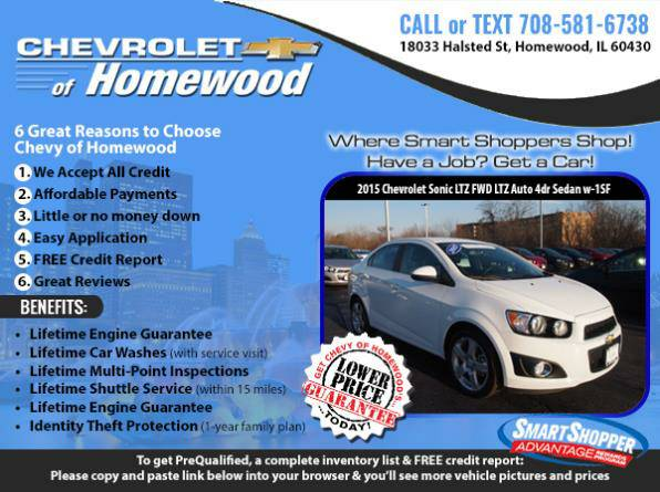 ➥Bad Credit? Get a 2015 *Chevy Sonic* for $224/mo
