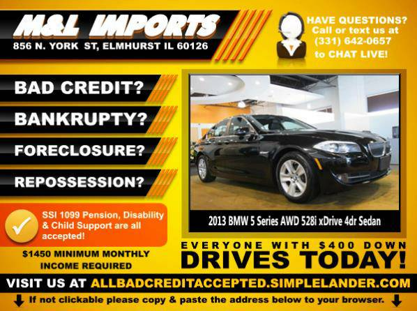 🌟 2013 *BMW 5 Series* BAD CREDIT? Drive something NICE for...