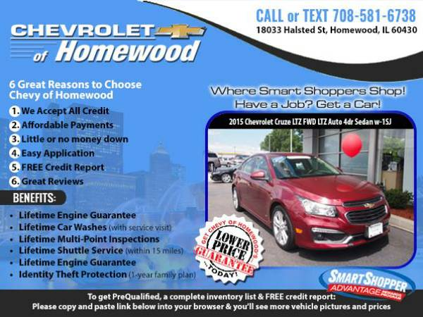 ➥Have a Job? Get a 2015 *Chevy Cruze* for $268/mo