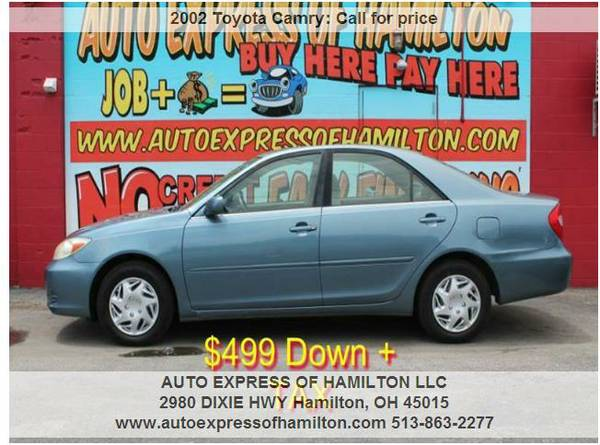 2002 Toyota Camry $499 Down + TAX BUY HERE PAY HERE