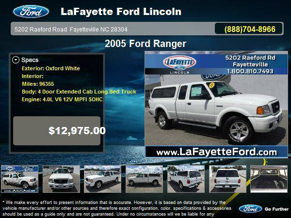 2005 Ford Ranger 4 Door Extended Cab Long Bed Truck Oxford White