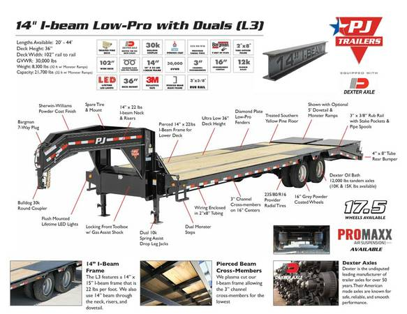 Low-Pro with Duals, Gooseneck Trailers, PJ Trailers L3402 GVWR 30k lbs