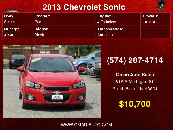 2013 Chevrolet Sonic LTZ. SUPER LOW MILES!! . Easy Financing! As low...