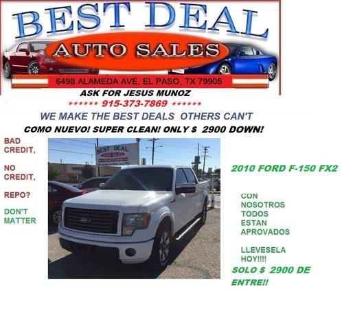 2010 FORD F-150 FX2 like new, solo $2900 de entre or $13995