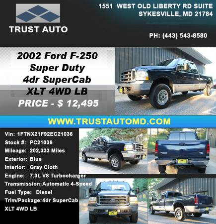 ►►► 2002 FORD F-250 SUPER DUTY 4DR SUPERCAB XLT 4WD