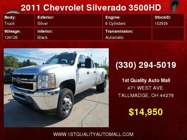 2011 CHEVROLET SILVERADO 3500 HD DUALLY 4X4 CREW CAB ONE OWNER w/ONLY