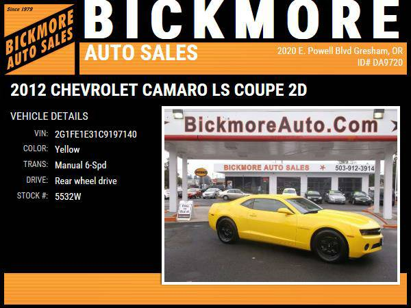 2012 *Chevrolet* *Camaro* *LS Coupe 2D*