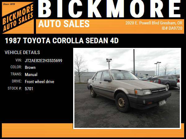 1987 *Toyota* *Corolla* *Sedan 4D*