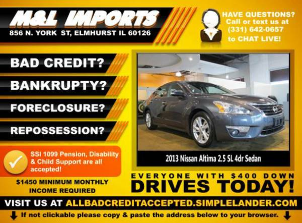 🌟 2013 *Nissan Altima* BAD CREDIT? Drive something NICE for...