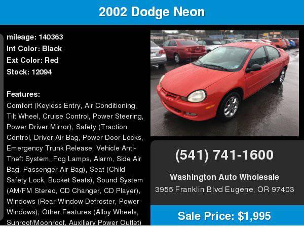 2002 Dodge Neon 4dr Sdn SXT