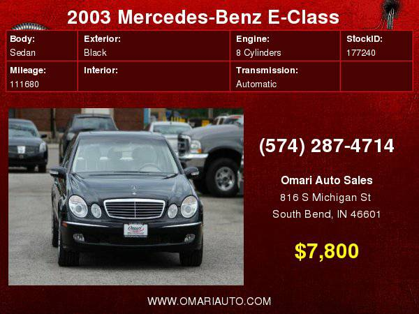 2003 Mercedes-Benz E500 . Hassle Free Financing. As low as $600 down.