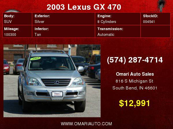 2003 Lexus GX 470 4WD. 1 Owner, Navigation,Leather . Low Financing...