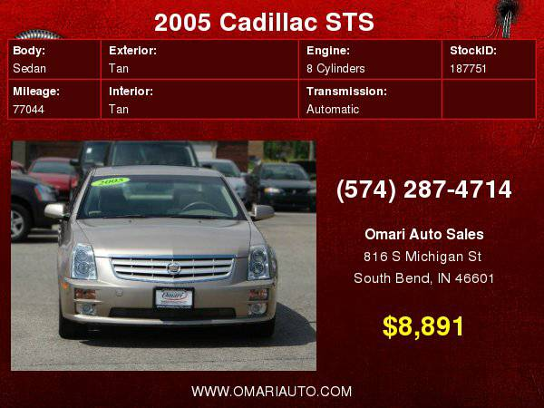 2005 Cadillac STS V8 . Guaranteed Approval! As low as $600 down.