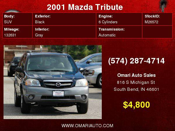 2001 Mazda Tribute 3.0L Auto LX 4WD . WE Finance Any Credit! As low...