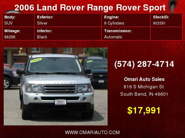 2006 Land Rover Range Rover Sport HSE . Low Financing rates! As low...