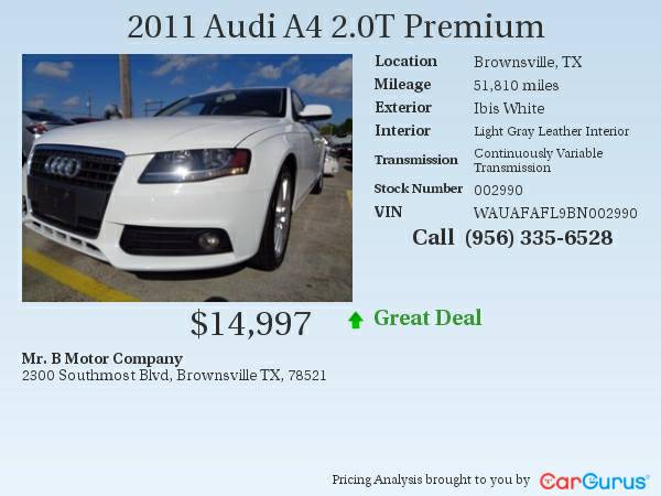Reduced! 11 Audi A4 2.0 T! Luxury! Call