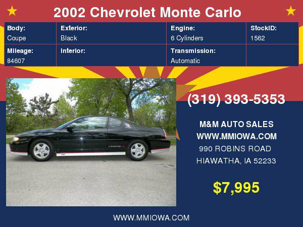 2002 Chevrolet Monte Carlo 2dr Cpe SS CALL