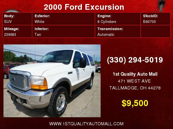 2000 FORD EXCURSION DIESEL 7.3 POWERSTROKE 4X4 LIMITED FULLY LOADED