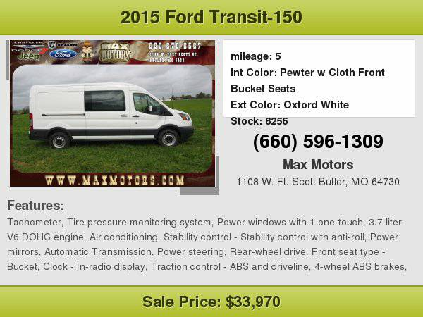 2015 Ford Transit-150 XL $8100 off Msrp!!! **WE FINANCE**WE LOVE...