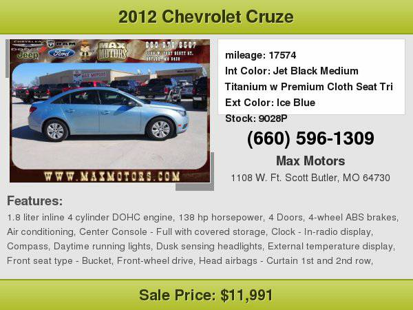 2012 Chevrolet Cruze LS **WE FINANCE**WE LOVE TRADE-INS**