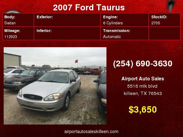 2007 Ford Taurus 4dr Sdn SE with Front/rear crumple zones