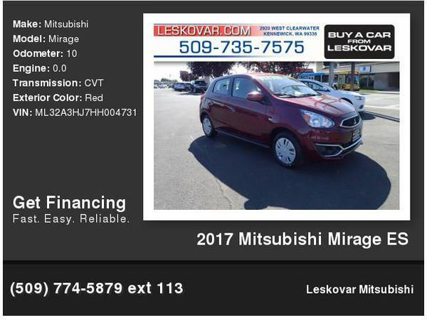 2017 Mitsubishi Mirage ES 4dr Hatchback CVT Red