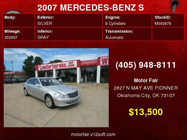 2007 MERCEDES-BENZ S 550 **You Are Approved!**