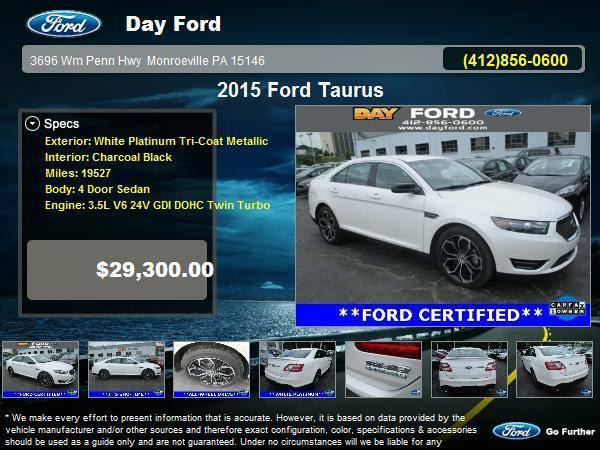 Certified: Ford Stock 16P133 2015 Taurus 4 Door Sedan