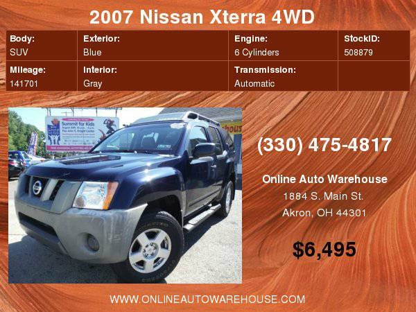 2007 Nissan Xterra X 4WD V6 ONE OWNER CLEAN CARFAX 140k WARRANTY