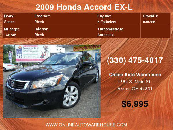2009 Honda Accord EX-L V6 FULLY LOADED LEATHER SUNROOF BLACK ON BLACK