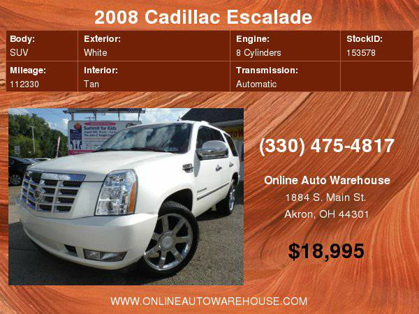2008 Cadillac Escalade AWD FULLY LOADED LOW MILES WARRANTY WHITE NICE