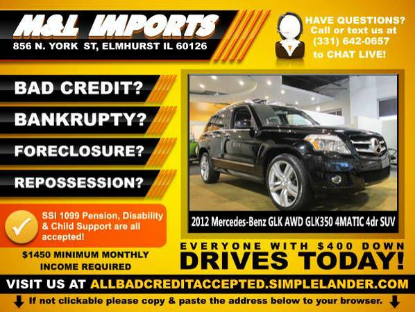 🌟 2012 *Mercedes GLK* BAD CREDIT? Drive something NICE for...