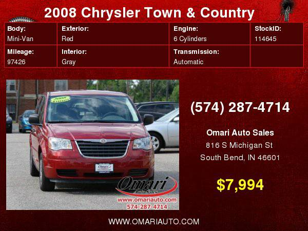 2008 Chrysler Town & Country LX . Hassle Free Financing. As low as...