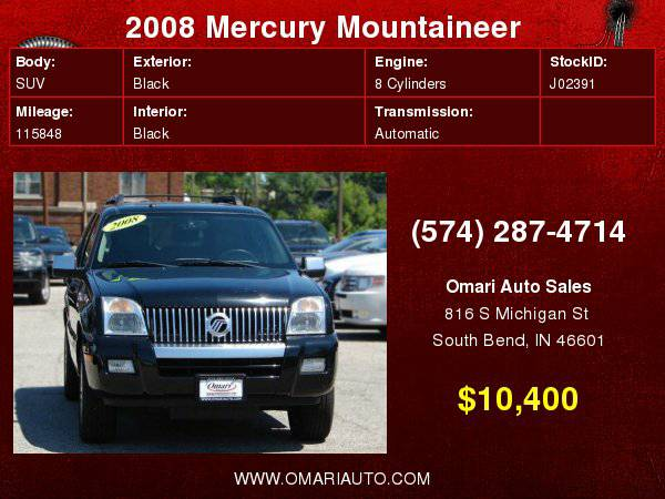2008 Mercury Mountaineer . WE Finance Any Credit! As low as $600 down.
